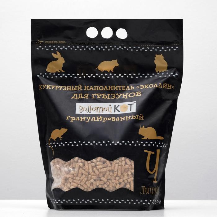 """Наполнитель кукурузный """"Золотой кот"""" для грызунов, гранулированный 5 мм, 4 л"""