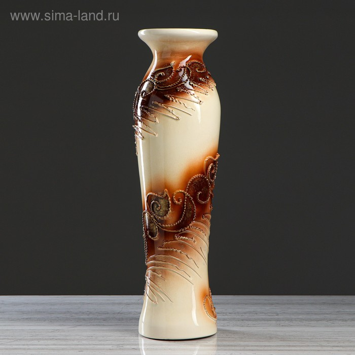"""Ваза напольная """"Азиза"""" оформление, камни, коричневый фон"""