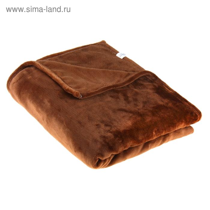 "Плед ""Этель корал"" 2 сп Темный шоколад 180*200 см, 100% п/э, корал-флис, 230 гр/м2"