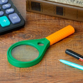 "Classic 5x magnifier, d=6 cm ""Drop"", orange handle, green, 17 cm"