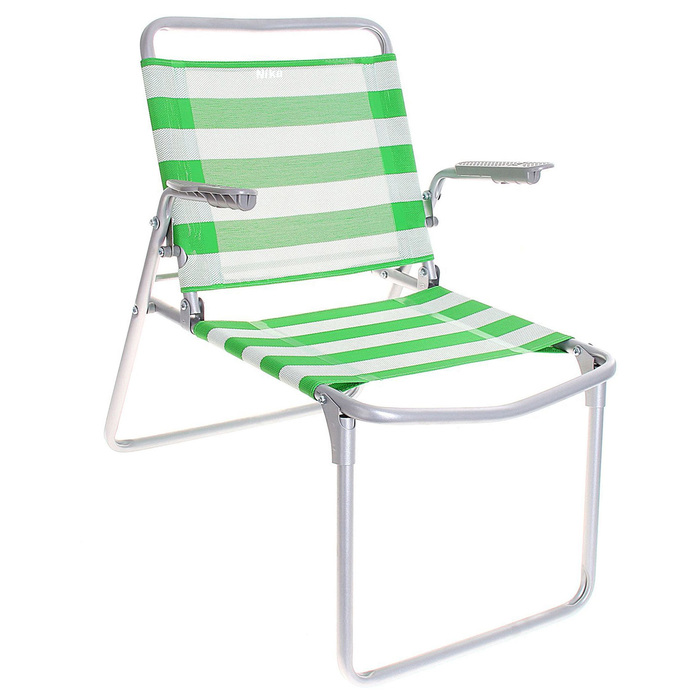 Кресло-шезлонг складное, К1, 73 x 57 x 64 см, салатовый/белый