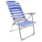 Кресло-шезлонг складное, размер 750x590x1090мм,  сетка цвет сине-белый К2