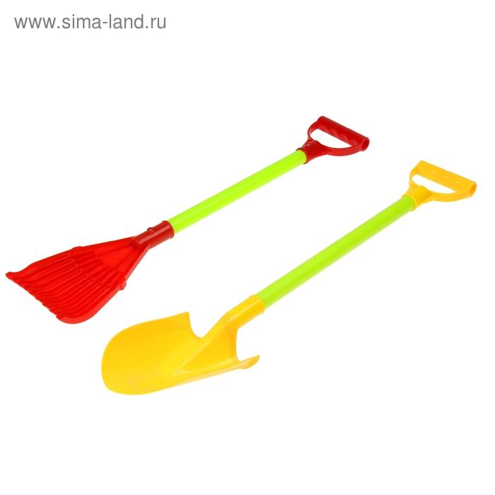 Набор детского садового инструмента, 2 предмета: грабли, лопата, длина 64 см, пластик, цвет МИКС
