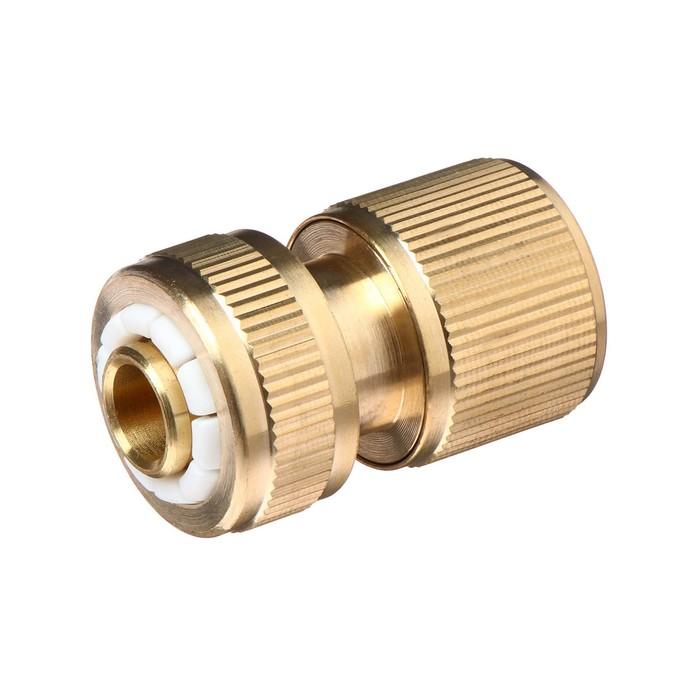 """Муфта-коннектор, с аквастопом, d=1/2"""" (12 мм), цанговое соединение, латунь"""