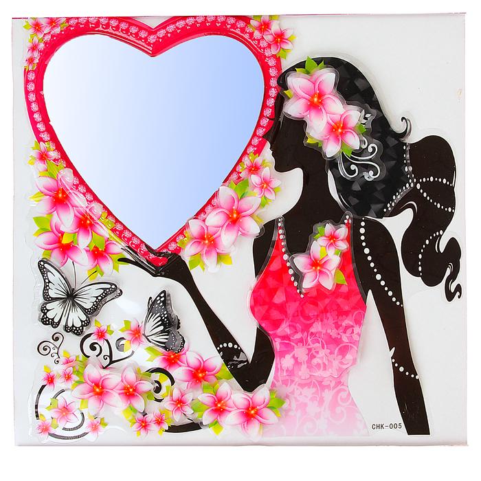 """Наклейка интерьерная зеркальная 5D """"Девушка с сердцем"""""""