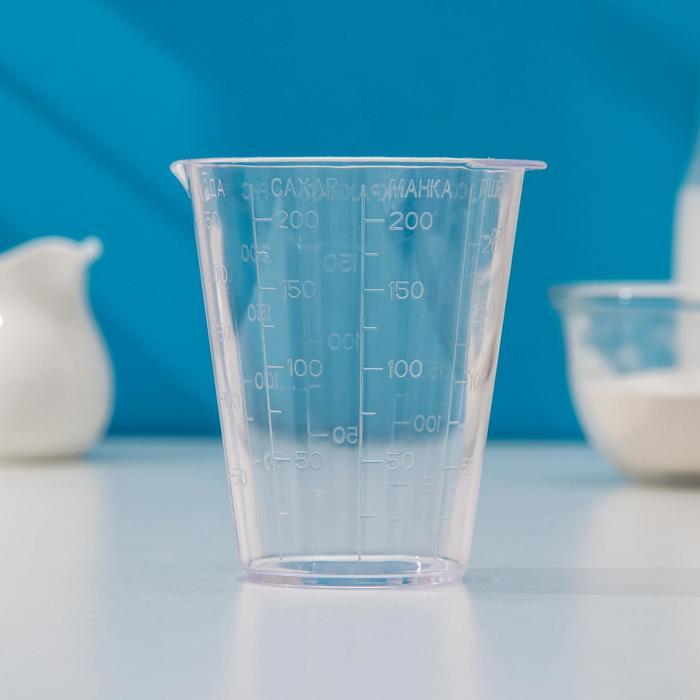 Мерный стакан для сыпучих продуктов, 250 гр, цвет прозрачный - фото 308020335