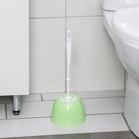 Ёрш для унитаза с подставкой BEROSSI Aqua, 13×13×36 см, цвет салатовый