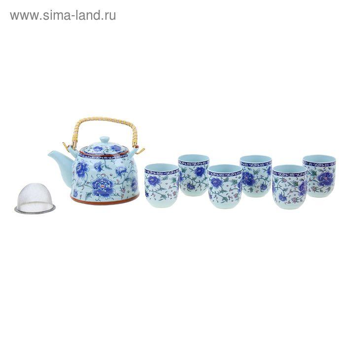 "Набор для чайной церемонии 7 предметов ""Синий георгин"" (чайник 900 мл, чашка 70 мл)"