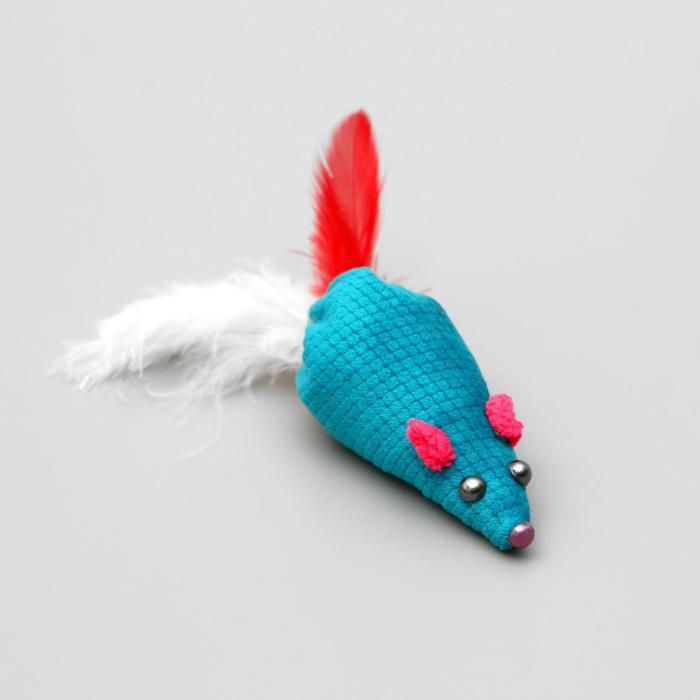 """Игрушка для кошек """"Мышка с пером"""", 8 см, микс цветов"""