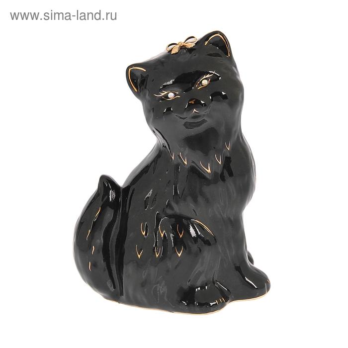 """Копилка """"Кошка Сима"""" глазурь, чёрная"""