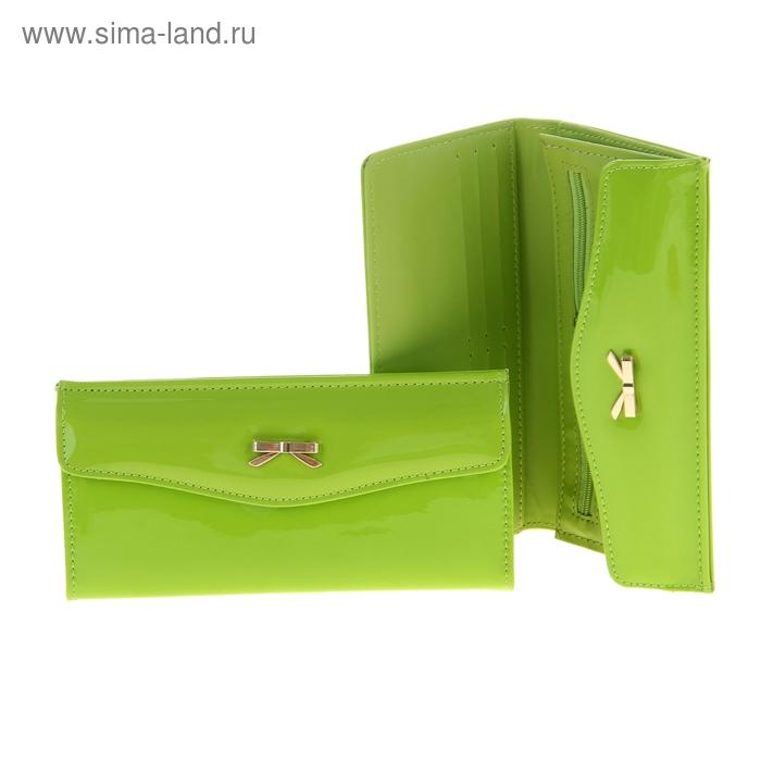 """Кошелек женский """"Бантик"""", 5 отделов, отдел для кредиток, цвет зелёный"""