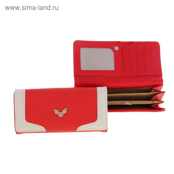 """Кошелек женский """"Ромашки"""", 5 отделов, отдел для кредиток, цвет красный"""
