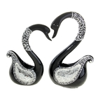 """Сувенир """"Черные лебеди, крылья с зеркальной мозаикой"""", набор из 2-х шт"""