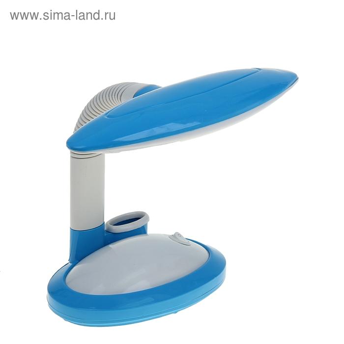 Лампа настольная с подставкой для канцтоваров с выкл. голубая