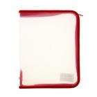 Папка пластиковая А5, молния вокруг, прозрачная, «Офис», ПМ-А5-01, красная