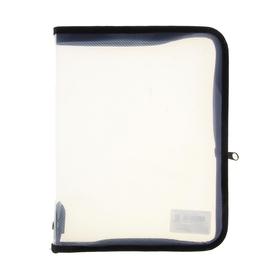 Папка пластиковая А5, молния вокруг, прозрачная, «Офис», ПМ-А5-01, чёрная