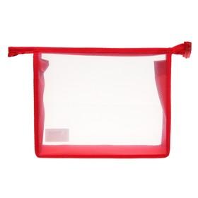 Папка пластиковая А5, молния сверху, прозрачная, «Офис», ПМ-А5-00, красная