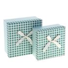 """Набор коробок 2 в 1 """"Клеточка"""", цвет зеленый"""
