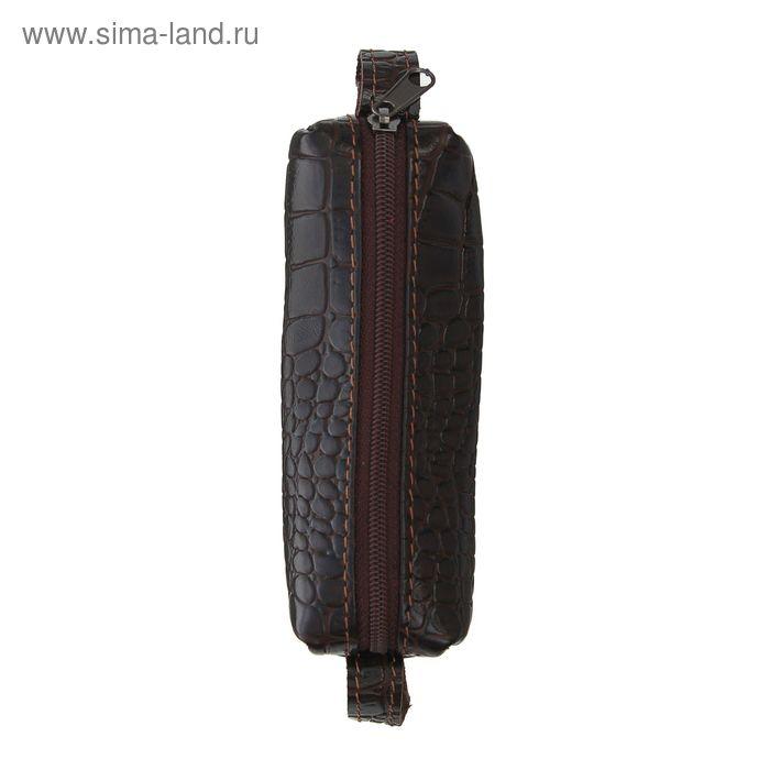 Ключница на молнии, металлическое кольцо, крокодил коричневая