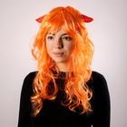 Карнавальный парик с красными рогами, цвет рыжий, 130 г