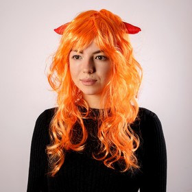 Карнавальный парик, с красными рогами, цвет рыжий, 130 г