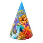 """Бумажные колпаки """"С днём рождения! Русалочка"""", набор 6 шт., 16 см"""