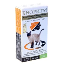 Витаминно-минеральный комплекс 'Биоритм' для кошек, вкус кролика, 48 таб (комплект из 2 шт.)