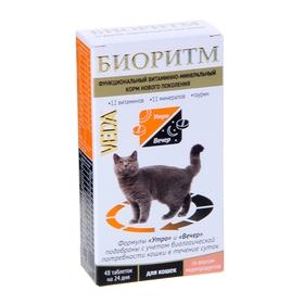 Витаминно-минеральный комплекс 'Биоритм' для кошек, вкус морепродуктов, 48 таб (комплект из 2 шт.)