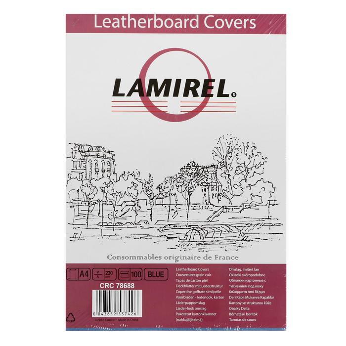 Обложки 100 шт. Lamirel Delta A4, картонные, с тиснением под кожу, цвет: синий, 230 г/м