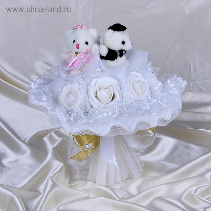 """Свадебный букет из игрушек """"Горько"""" белый"""