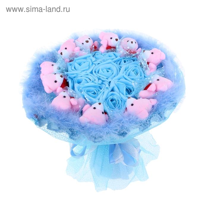 """Букет из игрушек """"Голубая лагуна"""" голубой"""