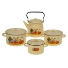 """Набор посуды """"Дачный"""" из 4 предметов: кастрюли 1,5 л; 2,9 л; 3,9 л; чайник 3,5 л"""