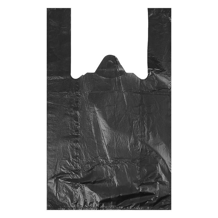 """Пакет """"Чёрный"""", полиэтиленовый, майка, 25 х 45 см, 9 мкм - фото 308983419"""