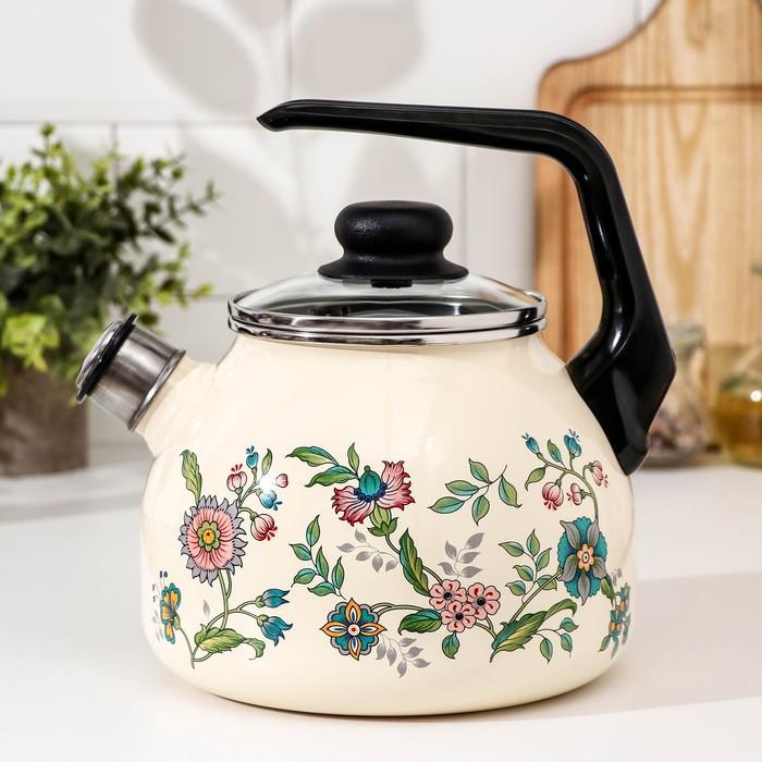 """Чайник со свистком 3 л """"Луговые цветы"""", фиксированная ручка"""