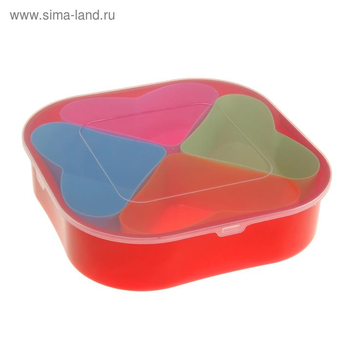 """Набор ёмкостей в контейнере """"Семицветик"""" 4 в 1, форма сердце"""