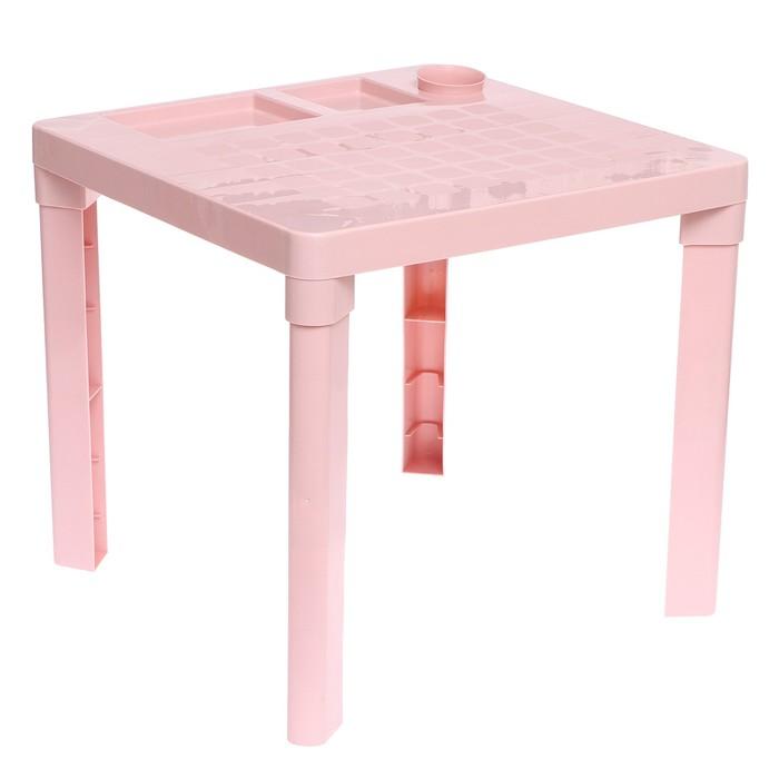 Детский стол с подстаканником, цвет розовый - фото 105455126