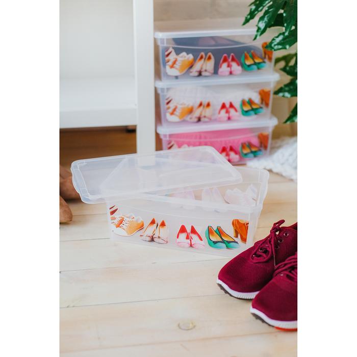 """Короб для хранения обуви прямоугольный 33х12х19 см """"Для обуви"""", прозрачный"""