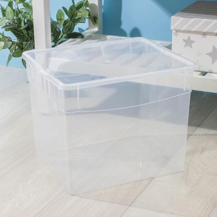 Ящик для хранения с крышкой «Кристалл», 34 л, 39×31×33 см, цвет МИКС - фото 308334853