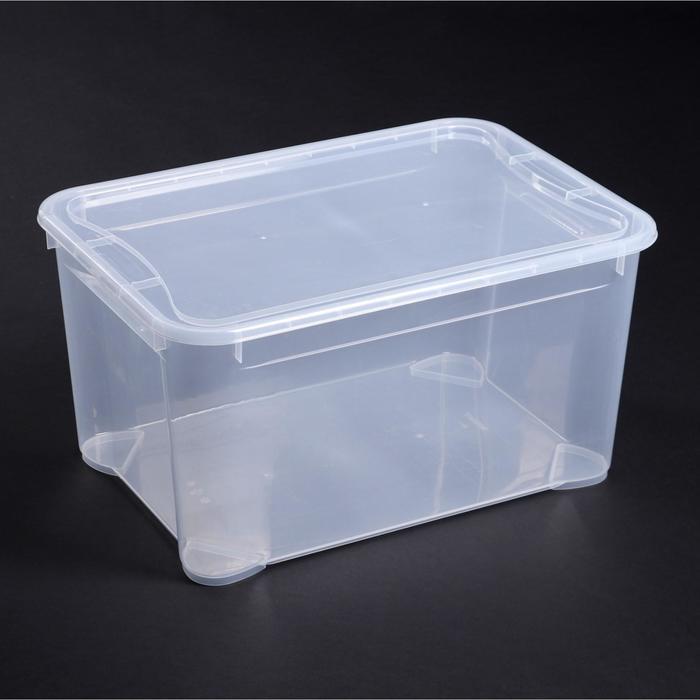 Ящик для хранения с крышкой «Кристалл», 55×39×29 см, цвет прозрачный - фото 308334865