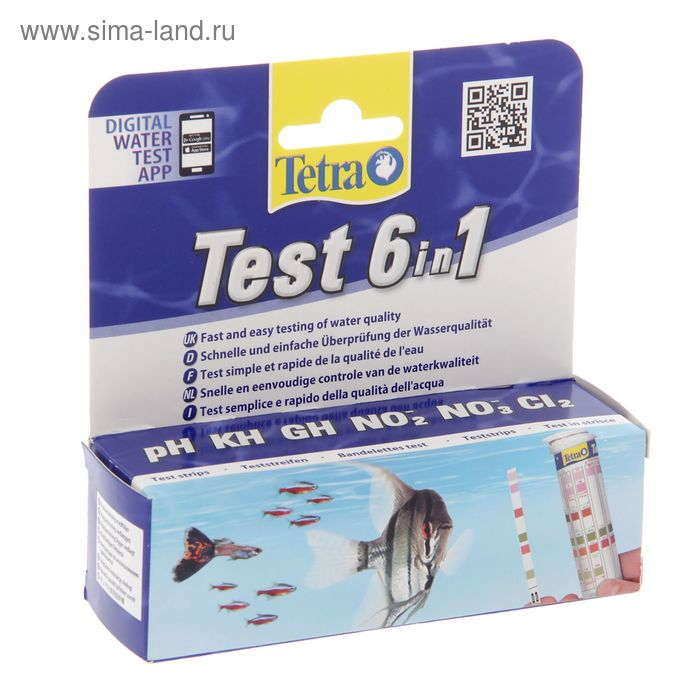 Тест 6 в 1 GH/kH/NO2/NO3/pH/CL2 полоски для пресной воды 25шт