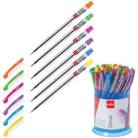 """Ручка шариковая Cello """"Slimo Drum"""" 0,7 мм, стержень синий, пластиковый стакан, микс"""