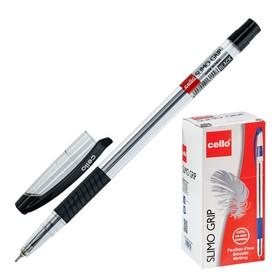 Ручка шариковая Cello Slimo Gripe, узел 0.7 мм, резиновый упор, чернила чёрные, корпус прозрачный