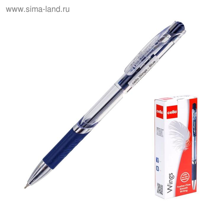 Ручка шариковая автомат Cello WINGS 1.0 мм резиновый упор синий стержень коробка