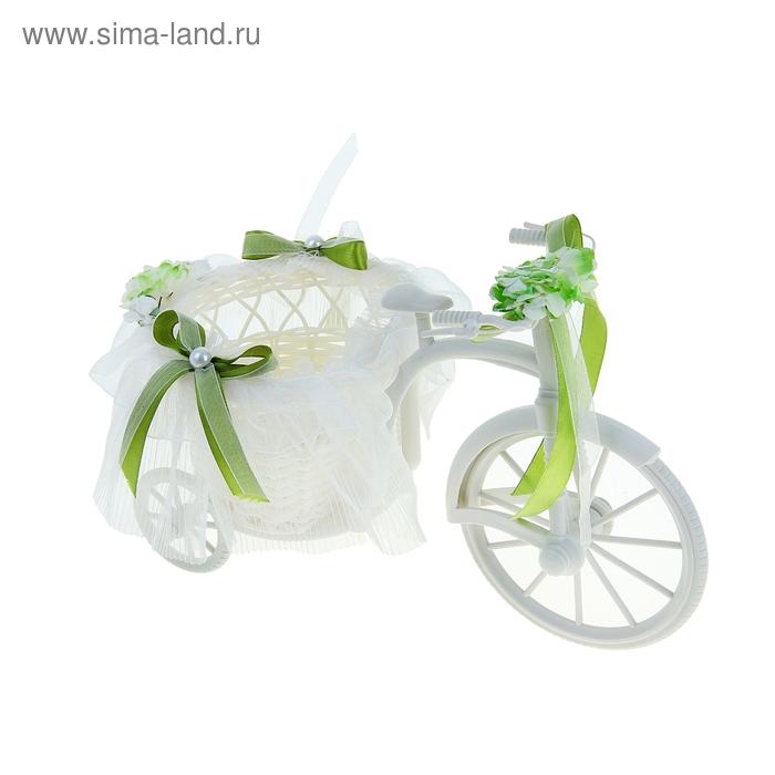 """Корзина декоративная """"Велосипед с кашпо и зелеными бантиками"""""""
