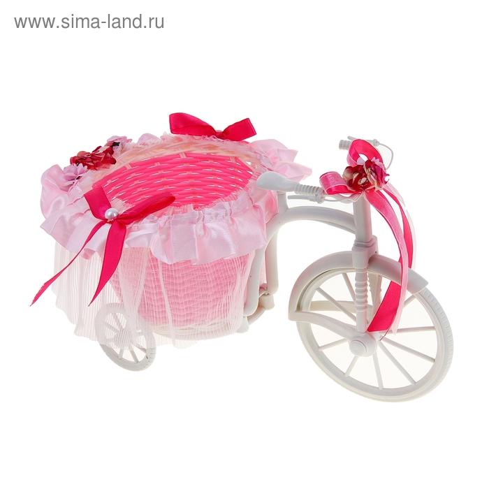 """Корзина декоративная """"Велосипед с кашпо и розовыми бантиками"""""""