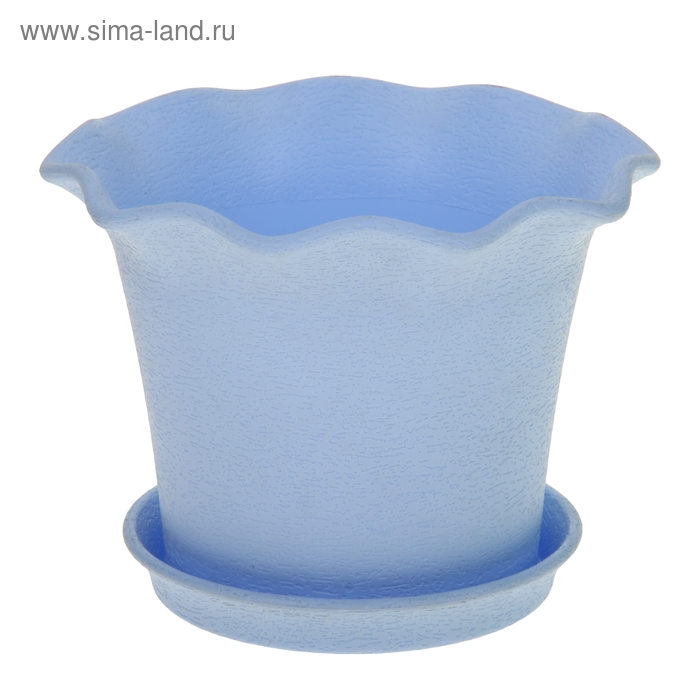 Горшок для цветов с поддоном 4 л Le Fleurе, d=28 см, цвет голубой