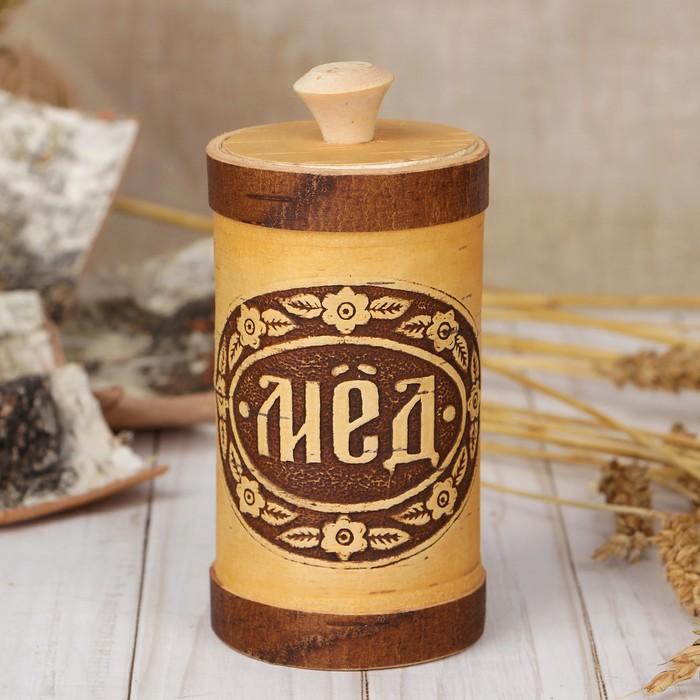 Туес «Мёд»,  6×6×15 см, береста