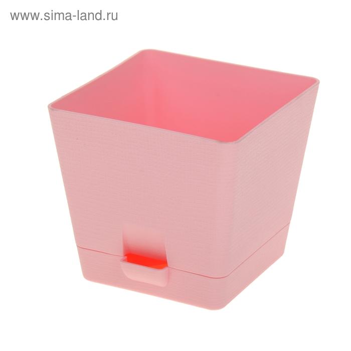 Горшок для цветов с поддоном 2 л Le Parterre, d=15 см, квадратный, цвет розовый