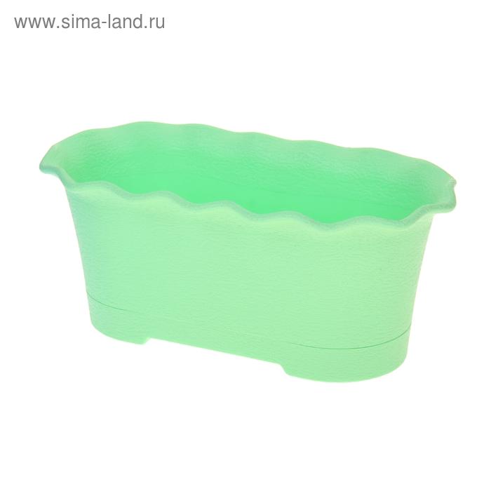 Горшок для цветов балконный с поддоном Le Fleure, 40 см, цвет зеленый