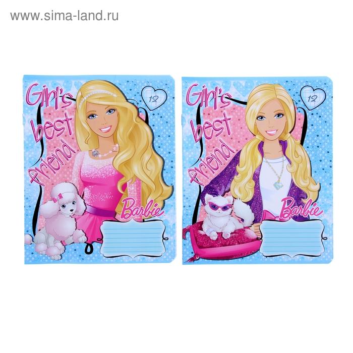 Тетрадь 12 листов клетка Barbie, МИКС